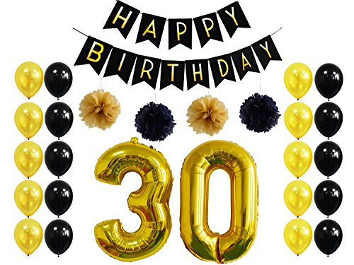 30th Birthday Party Decoration,Happy Birthday Banner ,30th Gold Balloon For 30th Party Supplies (Happy Birhtday)