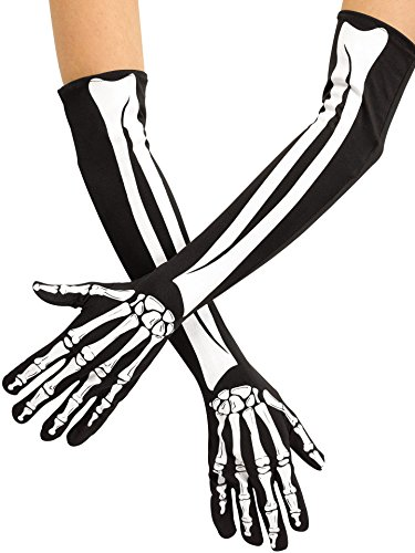 Fun World Unisex-Adults Skeleton Opera Gloves, Multi, Standard - Skeleton Costumes Spandex