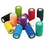 WildCow Vet Wrap Bulk 4'', Vet Tape Wrap Bandages Assorted Colors (Pack of 12)