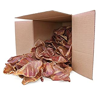 GigaBite Whole Pig Ears for Dogs (100 Pack) – USDA & FDA Certified All Natural Pork Ear Dog Treat – By Best Pet Supplies