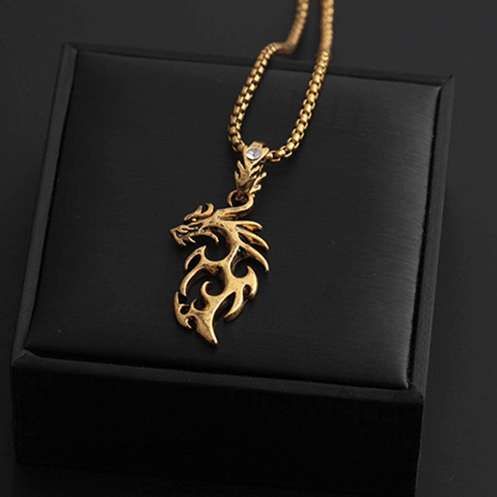Pigup Drache-Anh/änger M/änner Frauen M/ädchen Hip-Hop-Halsketten-Legierung Halsband-Anh/änger Schmuck Geburtstagsgeschenkeantikes Gold
