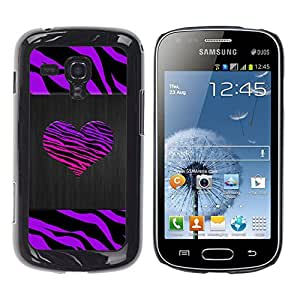 iKiki Tech / Estuche rígido - Stripes Heart Brushed Metal Purple - Samsung Galaxy S Duos S7562
