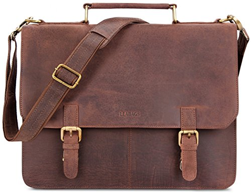 LEABAGS Gainsville genuine buffalo leather briefcase in vintage style - Nutmeg by LEABAGS