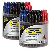 Pilot G2 Retractable Premium Gel Ink Roller Ball Pens, Fine Pt, 144 Pen Tubs, Black & Blue & Red