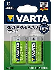 VARTA Rechargeable Accu Ready2Use förladdat C-batteri (2-pack, 300 mAh), laddningsbart utan minneseffekt - kan användas direkt