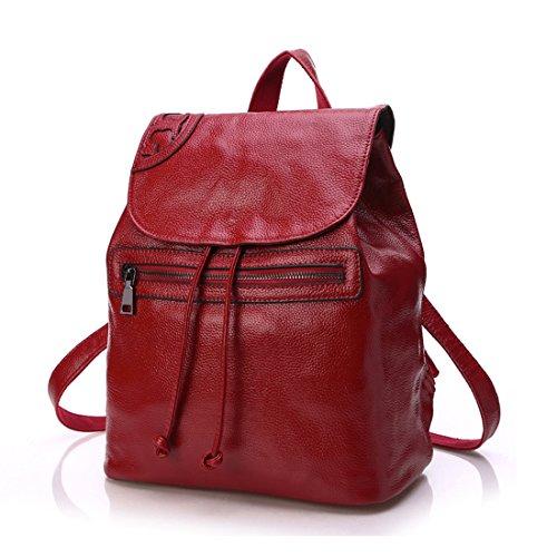 SUXCGE - Bolso mochila  de Piel para mujer Talla Unica rojo vino