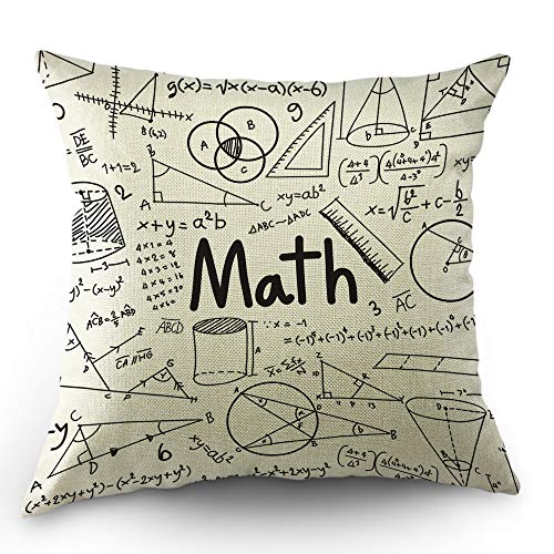 (Moslion Education Pillow Cover Physics Mathematical Formula Doodle School Angle Circle Ruler Throw Pillow Case 18x18 Inch Cotton Linen Square Cushion Decorative Cover for Valentine's Day Sofa Bed)