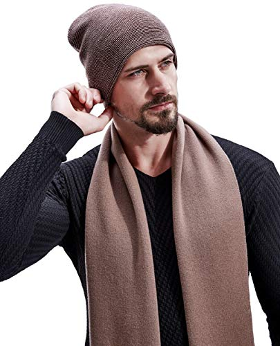 - KUMONE Men Scarf Winter Cashmere Long Wool Scarves with Gift Bag, Dark Camel