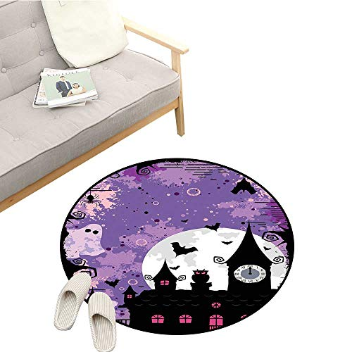 Vintage Halloween Modern Area Rug Halloween Midnight Image with Bleak Background Ghosts Towers and Bats Antifouling D55 Purple Black