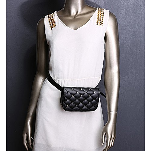 Rivets Mini Meliya PU Fanny Bag Women Bag Pack Belt Cell Bumbag Leather Fashion Phone Stripes Travel Pouch Black Waist Retro AHrXqxRHnw