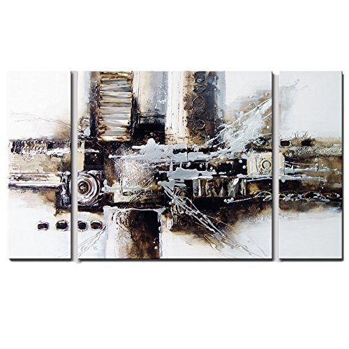 Hand Painted Paper Shade (Oil Painting Abstract Art, 100% Hand Painted Abstract Oil Paintings on Canvas, Large 3 Panel Framed Modern Abstract Wall Art for Living Room Home Decor, 24 Inches Height x 48 Inches Width)