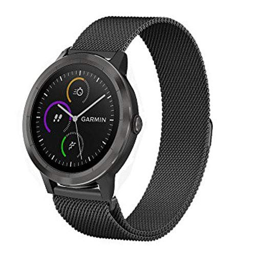 Vivoactive 3 Band,ViCRiOR Quick Release Loop Mesh Stainless Steel Metal Strap with Magnetic Closure Clasp for Garmin Vivoactive 3/ 3 Music, Forerunner 645 Music, Black ()
