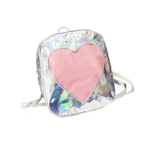 VHVCX Mochila Verano Caramelo De Las Mujeres De La Forma Transparente Del Corazón Del Amor Mochila Bookbag Mochilas Para Jóvenes Adolescentes Que Mochila: ...