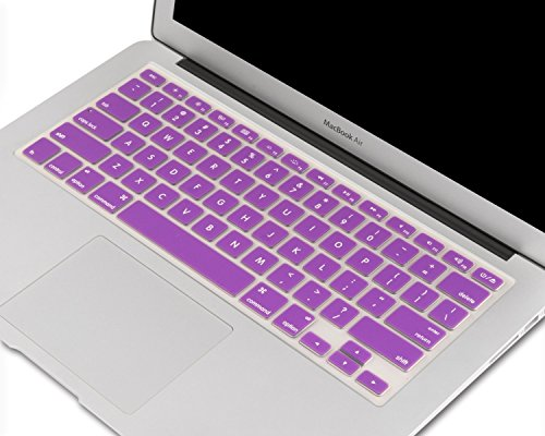 """Heartly Soft Silicone Keyboard Skin Crystal Guard Protector Cover for MacBook 13"""" / 13.3"""" / 15"""" / 17"""" inch - Frame Purple"""
