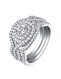 Newshe Engagement Wedding Ring Set for Women 925 Sterling Silver 3pcs 2CT White AAA Cz Size 5-10