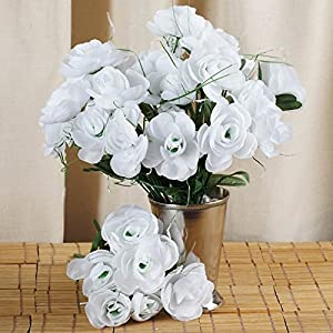 Tableclothsfactory 84 pcs Artificial Camellia Flowers for Wedding Arrangements - 12 Bushes - White 46