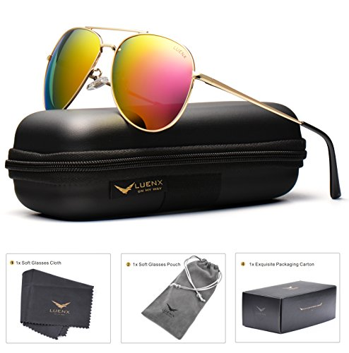 LUENX Sunglasses Aviator Polarized for Men & Women with Case - 400 UV Rose Red Lens Metal Gloss Silver Frame Colored 60mm