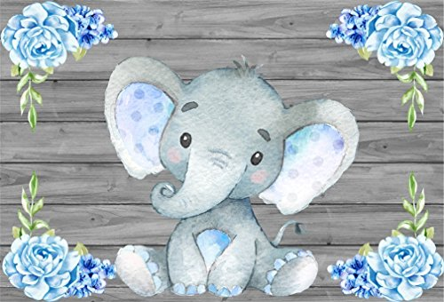 AOFOTO 5x3ft Cute Baby Elephant Backdrop Baby Shower Party Decoration Photography Background Sweet Watercolor Flower Cartoon Animal Photo Studio Props Newborn Infant Girl Kid Boy Child Birthday -