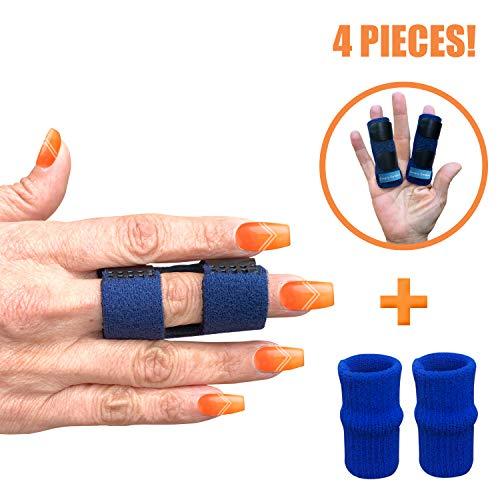 Finger Splint - Set of 2 Finger Splints with Nylon Sleeves for Trigger Finger Relief - Finger Brace for Straightening or Support for Broken Fingers - Ideal for Seniors
