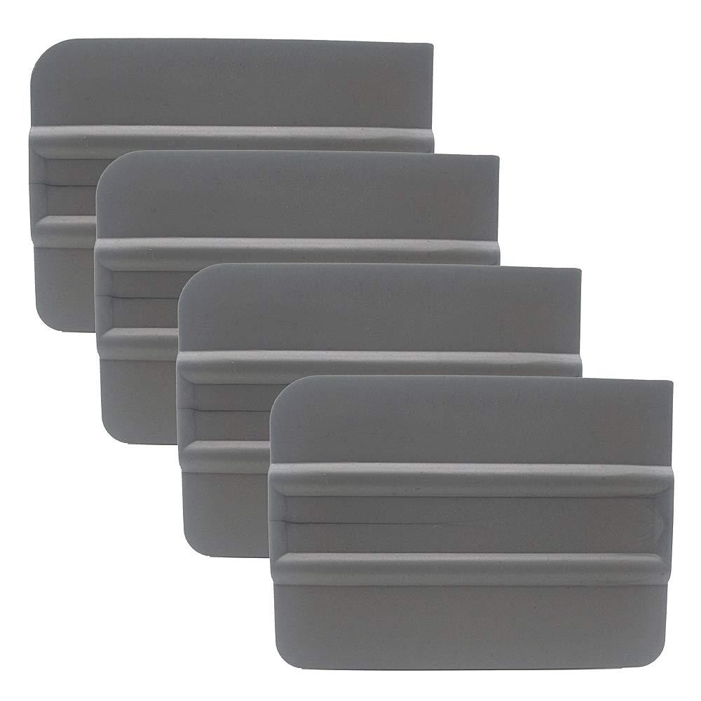 GUGUGI 4 Inch Car Vinyl Wrap Card Scraper Window Tint Film Tool Hard Squeegee 3 Round Corners - Silver PP Material