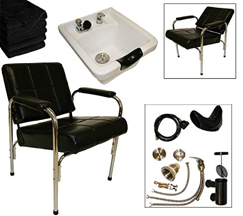 LCL Beauty Shampoo Package: Autorecline Shampoo Chair & Heavy Duty White Ceramic Shampoo Bowl