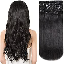 HEESAGA Clip in Real Human Hair Extensions, 14 Inch 120 Grams/4.2 Ounce 10 Pieces with 22 Clips per Set (#1B Natural Black)