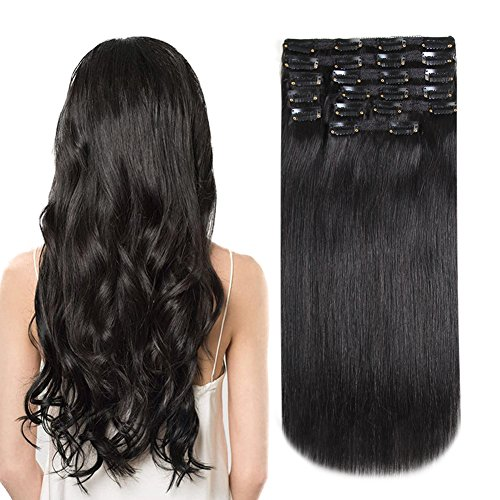 HEESAGA Clip in Hair Extensions Real Human Hair, 16 Inch 120 Grams/4.2 Ounce, 10 Pieces with 22 Clips per Set (#1B Natural Black)