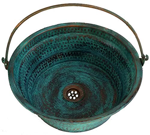 Handcrafted Copper Bathroom Sink - Egypt gift shops Rustic Green Patina Oxidized Vessel Pure Natural Copper Bathroom Bucket Sink Refurbishment Upgrade Renovation Kitchen Remodel Toilet Bowl