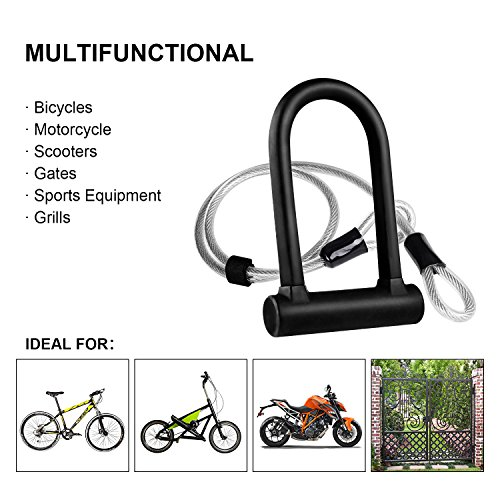 Beauty Star Bike U Lock with Security Cable, 16mm Heavy Duty Bicycle Lock U Lock Shackle Secure Bike Lock Set with 40 Inches Flex Steel Security Cable and Mounting Bracket by by Beauty Star (Image #6)