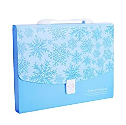 12-Pockets Expanding File Folder, Buckle Closure, [Blue, Snowflake]