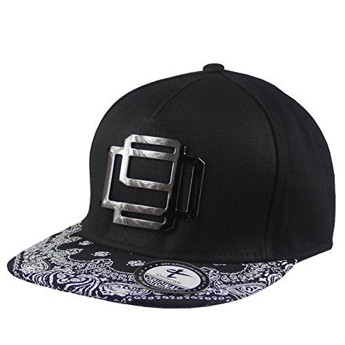 int Flat Bill Hat Adjustable Metal Rock Hip Hop Trucker Cap, Medium, Black (Hip Hop Trucker Hats)