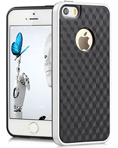 iPhone Case SE, Fosmon DURA-HOLOGRAM Series TPU + PC Bumper Case Hybrid pour Apple iPhone SE (Blanc/Noir)