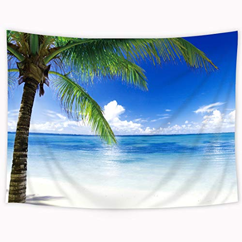 Wowzone Costal Palm Tree Tapestry Fresh Ocean Scene 60x80Inch Tropical Plant Beach Tapestry Blue Sky Clean Water Tapestry Wall Hanging Art Decor Fabric Home Dorm for Living Room -