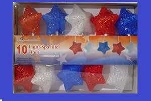 S/10 PATRIOTIC LIGHTED STAR Great for windows, mantles or doorways