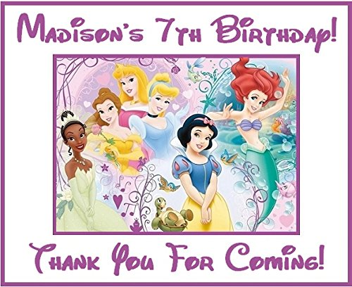 (12 Disney Princess PERSONALIZED Stickers, Party Supplies, Bag Labels, Decorations, Birthday, Disney Princess Treat Bags, Crafts)