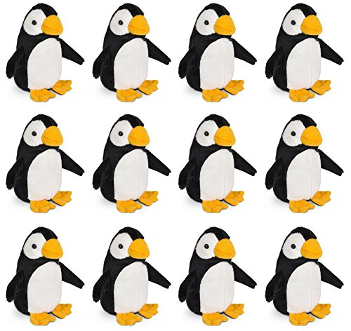 (Wildlife Tree 3.5 Inch Penguin Mini Small Stuffed Animals Bulk Bundle of Zoo Animal Toys or Arctic Animal Party Favors for Kids Pack of)