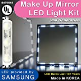 Crystal Vision Make up Mirror LED Light Kit Provided by Samsung for Cosmetic Mirror Vanity Mirror LED UL Power Supply w/ Dimmer Controller (75 LED Bulb / 12.5ft) [Slim Cool White]