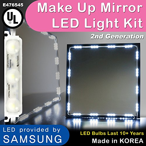 Crystal Vision Make up Mirror LED Light Kit Provided by Samsung for  Cosmetic Mirror Vanity Mirror LED UL Power Supply w  Dimmer Controller  75 LED  Bulb. Makeup Mirror LED Lights  Amazon com