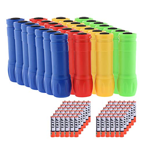 Whaply Small Mini Flashlights Pack of 28,Assorted Colors,100 Lumen,With Battery -