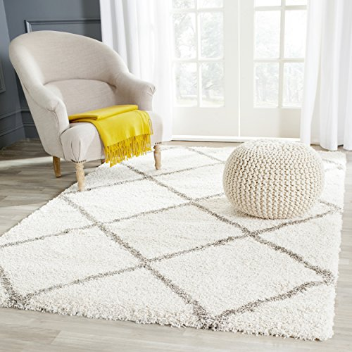 Safavieh Hudson Shag Collection SGH281A Ivory and Grey Area Rug, 3 feet by 5 feet (3' x 5') (Area Rug 3x5 Grey)