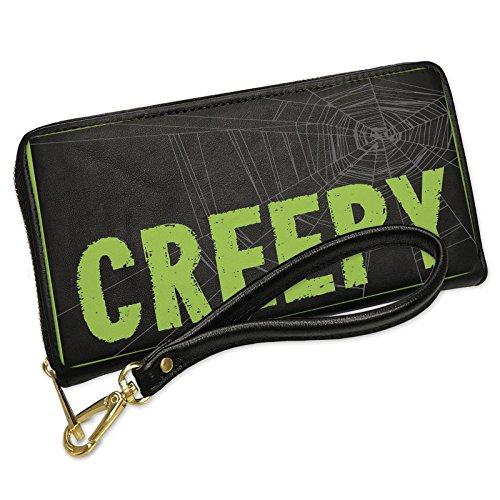 Wallet Clutch Creepy Halloween Creepy Green Spider Web with Removable Wristlet Strap (Green Halloween Spider Web)