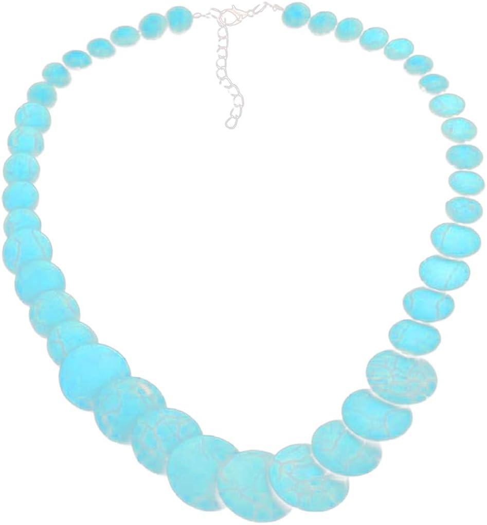 Beaums Collar estilo corto turquesa Nacional muchachas de las mujeres redondas ajustable piedras preciosas perlas Gargantillas