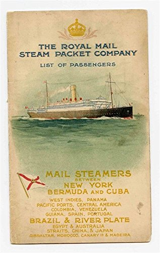 R M S P Tagus Passenger List 1911 Royal Mail Steam Packet Company