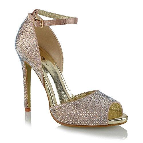 Tacco Diamante Satinato Satinato Toe ESSEX Peep Alto Sandalo Champagne Nuziale GLAM Donna wZnXRRqtHp