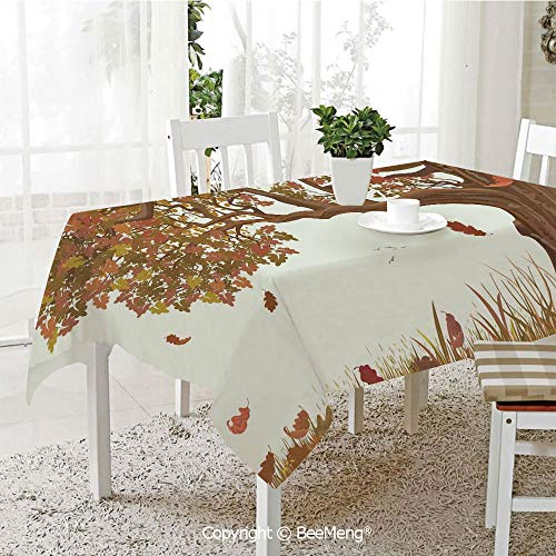(BeeMeng Large dustproof Waterproof Tablecloth,Family Table Decoration,Tree of Life,Autumn Season Fall Shady Deciduous Oak Leaves in Park Countryside Artwork,Umber Redwood,70 x 104 inches)