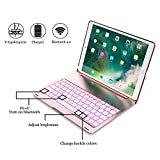 ipad Pro 10.5 Keyboard Case, ONHI Wireless Bluetooth Keyboard Case Aluminum shell Smart Folio Case with 7 Colors Back-lit, Auto Sleep / Wake, Silent Typing, the Screen can be Rotated 135 °(Rose gold)