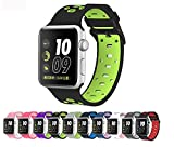 Apple Watch Silicone Replacement Band, Sport Edition by Pantheon,Strap fits the 38mm or 42mm Apple Watch 1, 2, 3 and Nike edition - Square Hole (38MM)