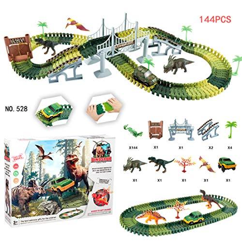 YIFAN レールおもちゃセット 恐竜の世界 恐竜おもちゃ トラック 車 ブリッジ 道路を作成 プラスチック製 DIY 早期教育 3歳 子供 男の子 ギフト 144点セット-528タイプ