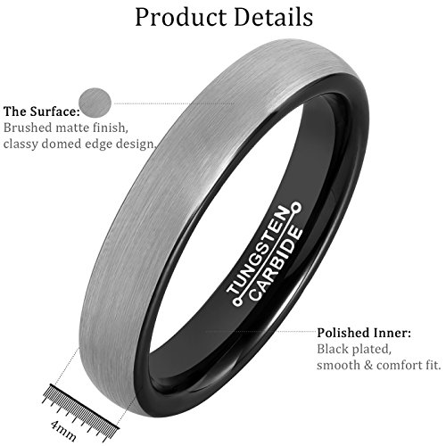 MNH Mens Rings Tungsten Carbide Black Plated Women Wedding Engagement Band Comfort Fit Matte Finish by MNH (Image #4)