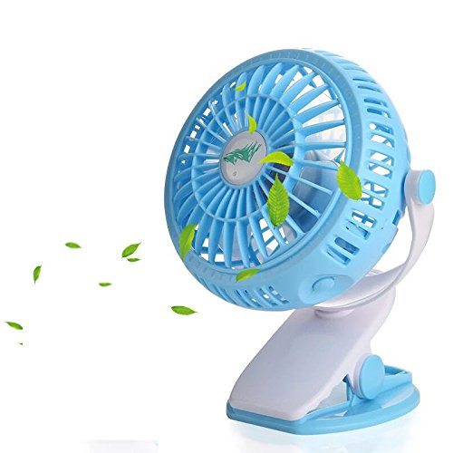 Clip on Fan,Blue Personal Fans,360°Rotating Free Adjustment Mini Fan,Portable Fan with 3 Speeds - 4 Inch Blades+A Phone Fan Perfect for Baby Stroller Outdoor Activity Office by Feili